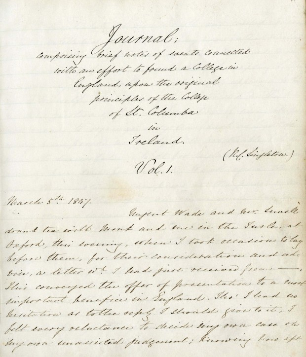 First page of the diary