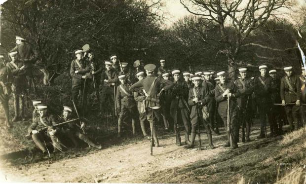 A photograph of Radley OTC on exercises during the First World War. (undated)