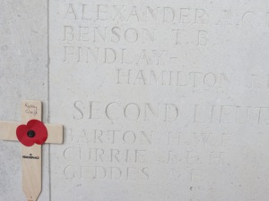 Harold Barton's name of the Le Touret Memorial. Photographed for 'Marching in Memory' for Combat Stress, July 2015