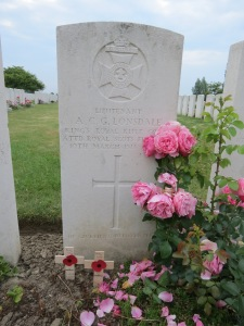 The grave of Arthur Lonsdale at Rue Petillon Cemetery.  Phptographed for 'Marching in Memory' for Combat Stress, July 2015