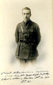 Arthur Badcock, Lt, 6th Bn, Yorkshire LI.  kia 14 October 1915