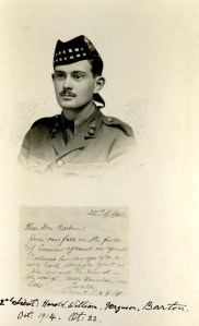 Harold Barton, 2nd Lt, 1st Bn, Royal Scots Fusiliers. kia La Bassee, 18 October 1914
