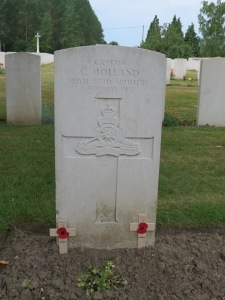 The grave of Cyril Holland at St Vaast Cemetery. Photographed for 'Marching in Memory' for Combat Stress, July 2015