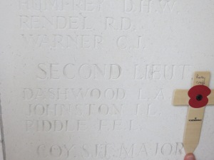The name of Lionel Johnston on the Le Touret Memorial. Photographed for 'Marching in Memory' for Combat Stress, July 2015