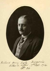 Richard Magenis, 2nd Lt, 3rd Bn, Royal Irish Rifles. kia 17 September 1914