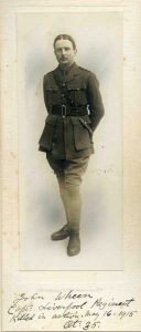 John Wheen, Capt 1st Bn Liverpool Regt.  Missing, presumed kia, 14 May 1915