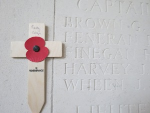 The name of John Wheen on the Le Touret Memorial.  Photographed for 'Marching in Memory' for Combat Stress, July 2015