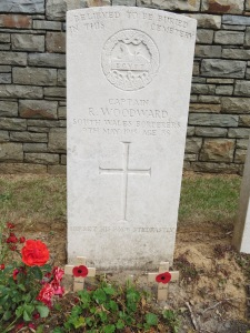 """Believed to be the grave of Robert Woodward at Guards Cemetery, Windy Corner,Cuinchy. Photographed for 'Marching in Memory' for Combat Stress, July 2015. The family added the inscription """"He set his face stedfastly"""" (See Luke, Chapter 9, Verse 51)."""