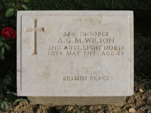 The grave of A Maryon-Wilson at Shrapnel Valley.  Photo David Bennett, 18 May 2015