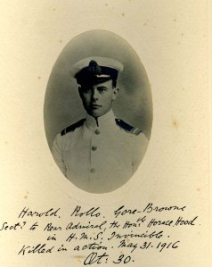 Harold Gore-Brown, Asst Paymaster, HMS Invincible, Royal Navy.  Died in the Battle of Jutland, 31 May 1916