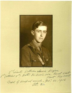 Lt William Wigan, Royal West Kent Regt.  Died of wounds 23 February 1916