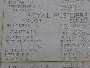 Augustus Fitzclarence commemorated on the Helles Memorial.  Photo David Bennett, 18 May 2015