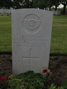 The grave of Cyril Knapp-Fisher at Lijssenthoek.  Phptographed for 'Marching in Memory' for Combat Stress, July 2015
