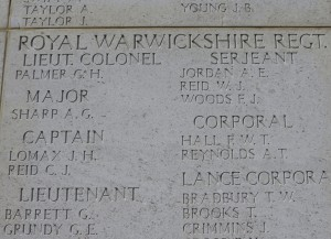 Cecil Palmer commemorated on the Helles Memorial.  Photo David Bennett, 18 May 2015