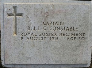 The grave of Basil Constable at Green Hill Cemetery, Gallipoli Peninsular.  Photo David Bennett, 18 May 2015