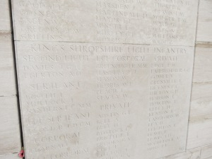 The name of Arthur Egerton on the Loos Memorial.  Photographed for 'Marching in Memory' for Combat Stress