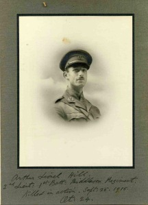Arthur Hill, 2nd Lt, 1Bn, Middlesex Regt.  Missing 25 September 1915