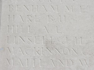 The name of Arthur Hill on the Loos Memorial.  Photographed for 'Marching in Memory' for Combat Stress, July 2015