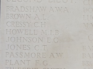 The name of Maurice Howell on the Loos Memorial.  Photographed for 'Marching in Memory' for Combat Stress, July 2015