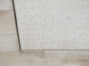 The name of Basil Hoyle on the Loos Memorial.  Photographed for 'Marching in Memory' for Combat Stress, July 2015