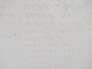 The name of Charles King on the Loos Memorial.  Photographed for 'Marching in Memory' for Combat Stress, July 2015