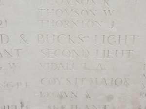 The name of Lance Vidal on the Loos Memorial. Photographed for 'Marching in Memory' for Combat Stress, July 2015