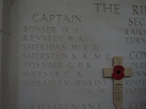 The name of Charles Wolesley-Jenkins on the Ploegsteert Memorial.  Photographed for 'Marching in Memory' for Combat Stress, July 2015