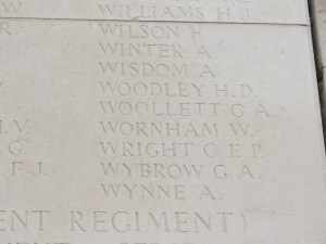 The name of Harry Woodley on the Loos Memorial. Photographed for 'Marching in Memory' for Combat Stress, July 2015