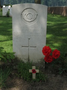 The grave of AL Badcock at Elzenwalle.  Photographed for 'Marching in Memory' for Combat Stress, July 2015