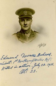Edmund Badcock, Lt, 1st Bn, Northamtonshire Regt. kia near Contelmaison, Battle of the Somme