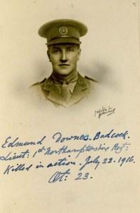Edmund Badcock, Lt, 1st Bn, Northamtonshire Regt. kia near Contelmaison, Battle of the Somme