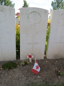 The grave of Lionel Bostock at Albert Communal Cemetery. Photographed for 'Marching in Memory' for Combat Stress, July 2016