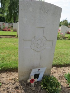 The grave of Alfred de Lafontaine at Carnoy Cemetery. Photographed for 'Marching in Memory' for Combat Stress, July 2015