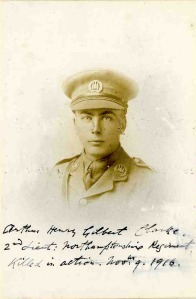 Arthur Clarke, 2nd Lt, 1st Bn, Northamptonshire Regt. kia Battle of the Somme
