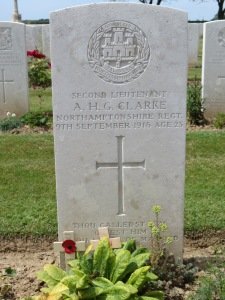 The grave of Arthur Clarke in Caterpillar Valley Cemetery.  Photographed for 'Marching in Memory' for Combat Stress, July 2015