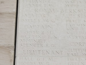The name of Richard Coote on the Loos Memorial. Photographed for 'Marching in Memory' for Combat Stress, July 2015