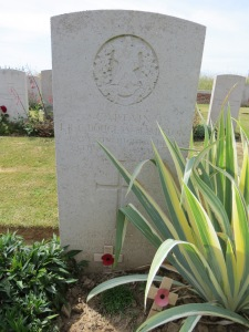 The grave of Lesley Douglas-Hamilton at Peronne Road Cemetery. Photographed for 'Marching in Memory' for Combat Stress, July 2015
