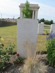 The grave of Malcolm Gibson at Vermelles.  Photographed for 'Marching in Memory' for Combat Stress, July 2015