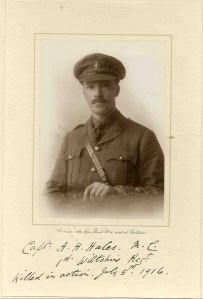 AH 'Sam' Hales, Captain, 1st Bn, Wiltshire Regt. kia First Battle of the Somme