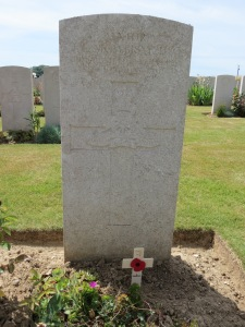 The grave of John Mowbray at Peronne Road Cemetery. Photographed for 'Marching in Memory' for Combat Stress, July 2015