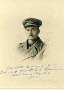 John Robinson, Captain & Adjutant, 7th Bn, North Staffordshire Regt. Died of wounds in Mesopotamia