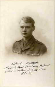 Gilbert Whittet, 2nd Lt, 7th Bn, Royal West Surrey Regt. kia Trones Wood, Battle of the Somme