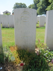 The grave of Charles Wright at Serre Road Cemetery. Photographed for 'Marching in Memory' in aid of Combat Stress, July 2015