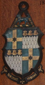 The shield of Geoffrey Adams, still hangs in Radlege College Dining Hall