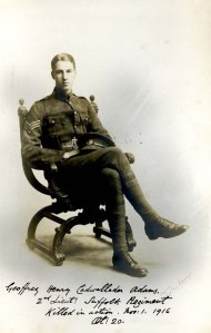 Geoffrey Adams. 2nd Lt, 9th Bn, Suffolk Regt. kia Battle of the Somme
