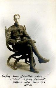 Geoffrey Adams. 2nd Lt, 9th Bn, Suffolk Regt. kia Battle of the Somme