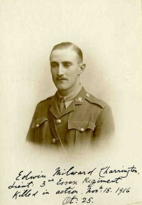 Edwin Charrington. Captain, 13th BN, Essex Regt. kia at Beaumont Hamel