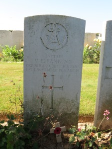 The grave of Vivian Fanning at Munich Trench Cemetery.  Photographed for 'Marching in Memory' for Combat Stress, July 2015