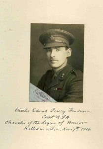 Charles Henderson, MC, Chevalier of the Legion of Honour. Captain, 71st Battery, Royal Field Artillery. kia Battle of the Somme