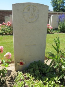 The grave of Theo Ionidesw at Couincourt Cemetery. Photographed for 'Marching in Memory' for Combat Stress, July 2015